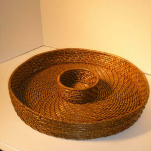 Other - Pine-Needle-Inspired Wicker Chip & Dip Basket Tray